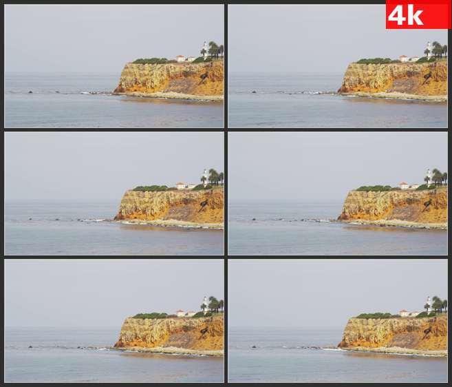4K0651波浪撞击帕洛斯弗迪斯海岸 高清实拍视频素材