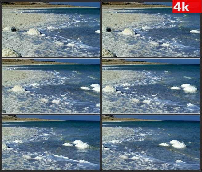 4K0658波浪湖水海盐盐湖 高清实拍视频素材