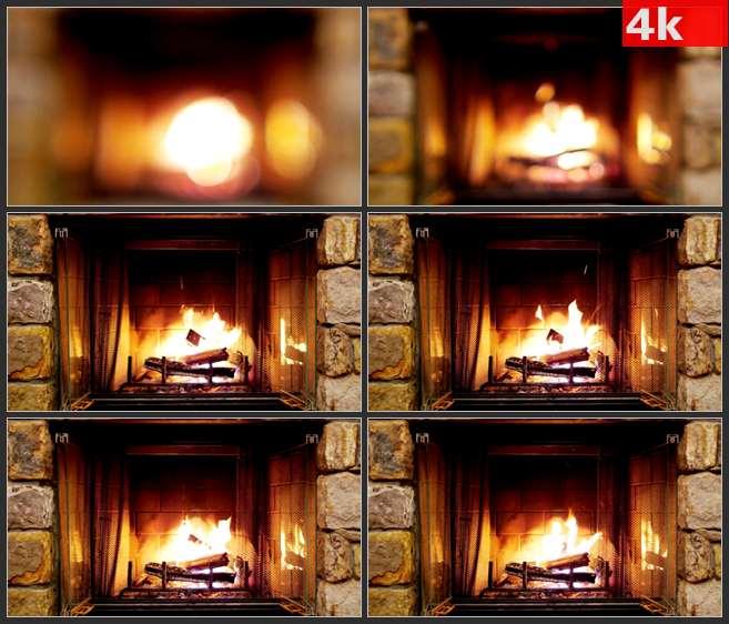 4K0666壁炉炉火火焰 高清实拍视频素材