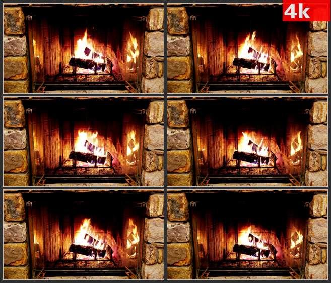 4K0667壁炉里燃烧的木炭 高清实拍视频素材