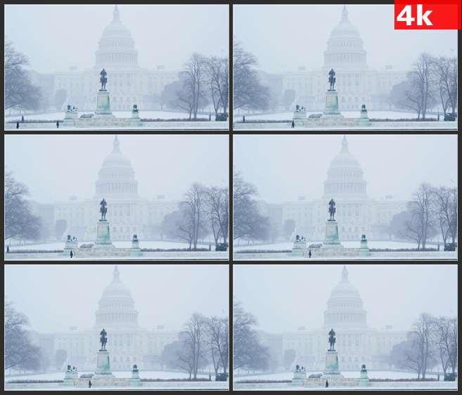 4K0672暴雪中的美国白宫 高清实拍视频素材