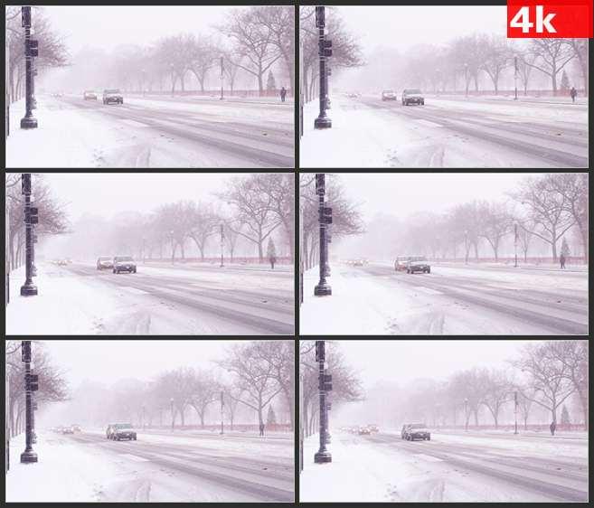 4K0678暴风雪中的道路 高清实拍视频素材