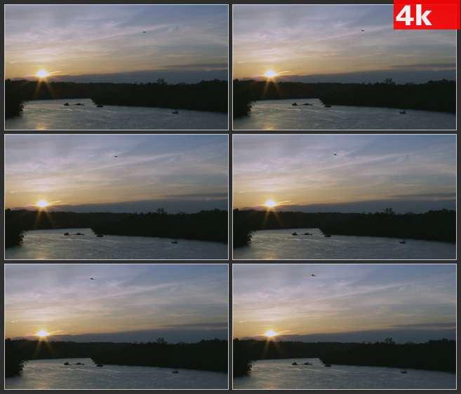 4K0679傍晚夜空飞机飞行剪影 高清实拍视频素材