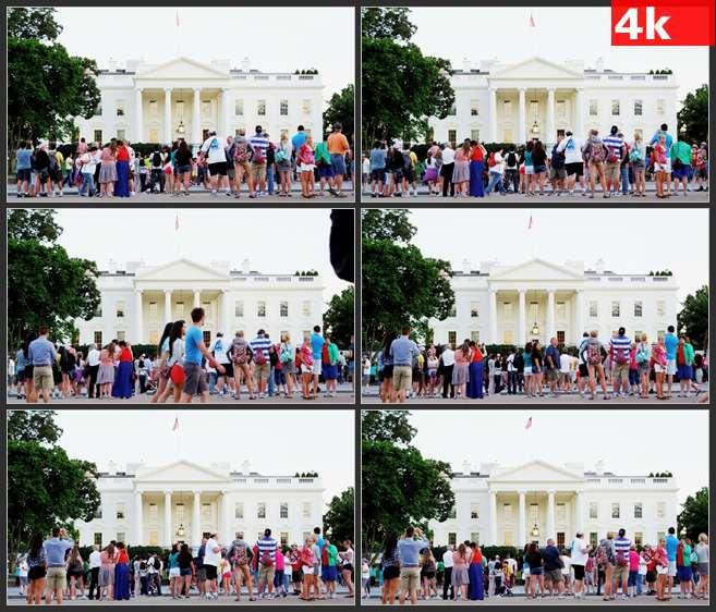 4K0690白色建筑旁的游客 高清实拍视频素材