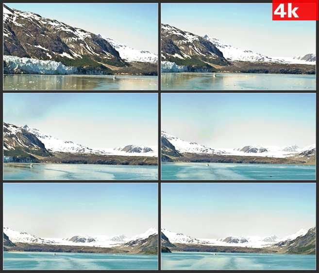 4K0693白色的雪山和平静的湖面 高清实拍视频素材