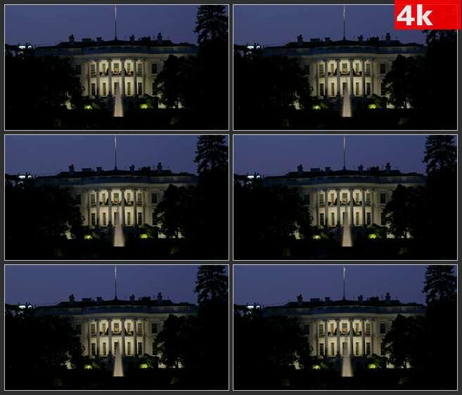 4K0699白宫灯火辉煌的夜景喷泉 高清实拍视频素材
