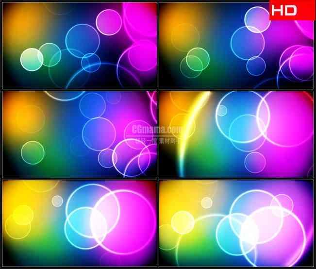 BG0013-透明光环气泡五彩背景梦幻高清LED视频背景素材