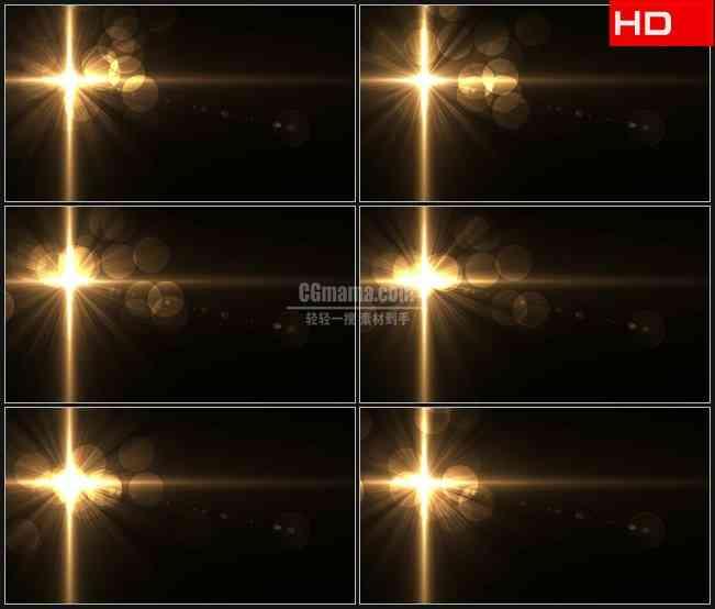 BG0014-发光的金色十字架耀斑高清LED视频背景素材