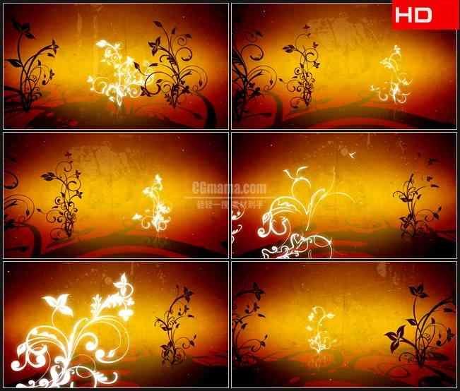 BG0015-橙色棕色卷草纹花纹复古背景高清LED视频背景素材