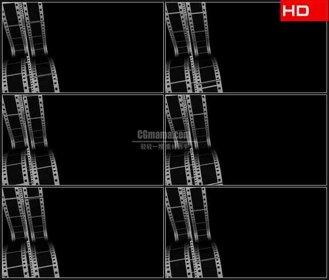 BG0024-滚动薄膜带滚动的胶片电影黑背景高清LED视频背景素材