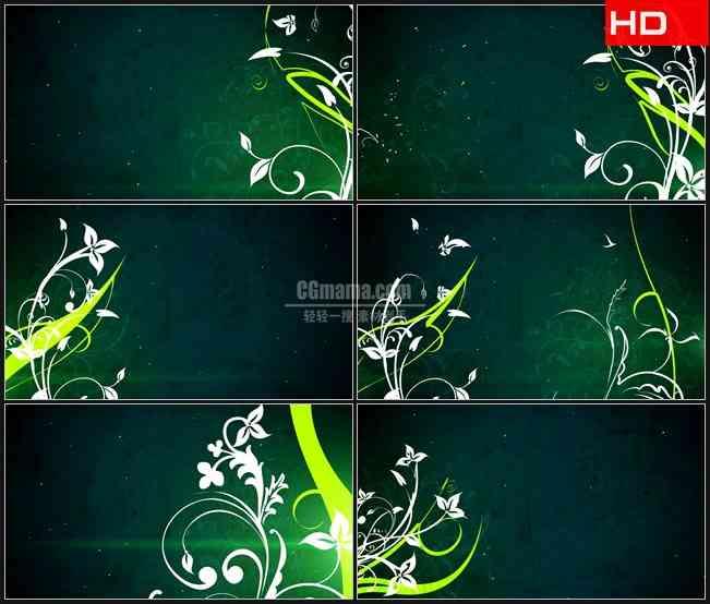 BG0032-淡绿色白色的卷草纹花朵绽放复古绿色背景高清LED视频背景素材