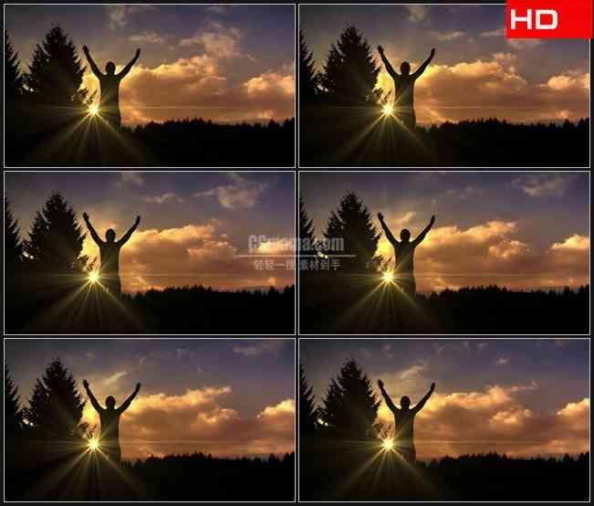 BG0041-云彩飘动夕阳剪影欢呼高清LED视频背景素材