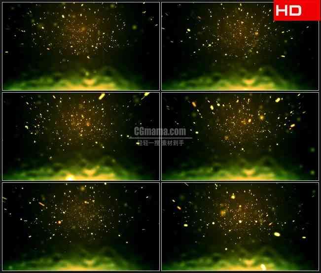 BG0043-黄色绿色萤火虫粒子星光飞舞摘要高清LED视频背景素材