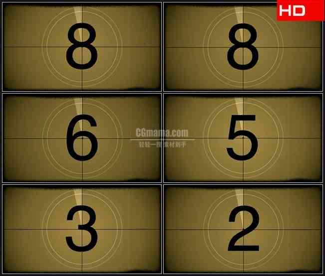 BG0048-老电影旋转数字倒计时高清LED视频背景素材