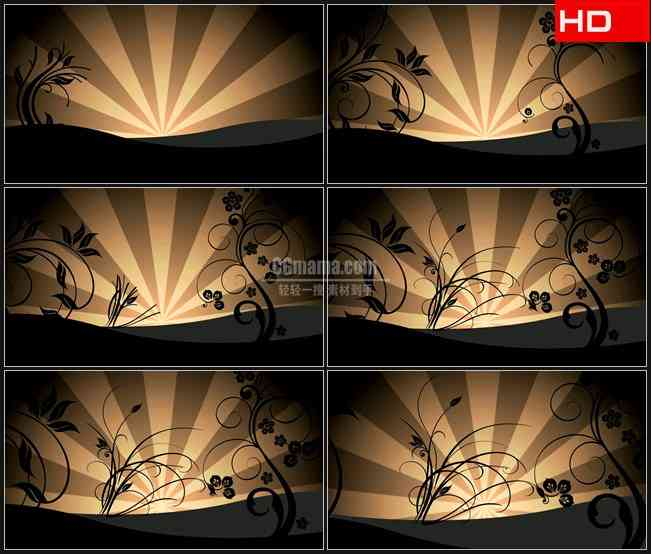 BG0049-复古抽象卷草花纹生长动画背景高清LED视频背景素材