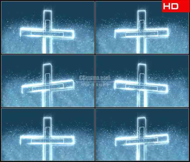 BG0058-水晶十字架粒子飞舞高清LED视频背景素材