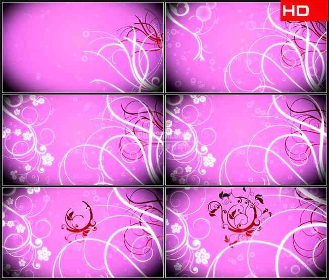 BG0069-粉红色背景白色红色卷草纹繁花梦幻气泡高清LED视频背景素材