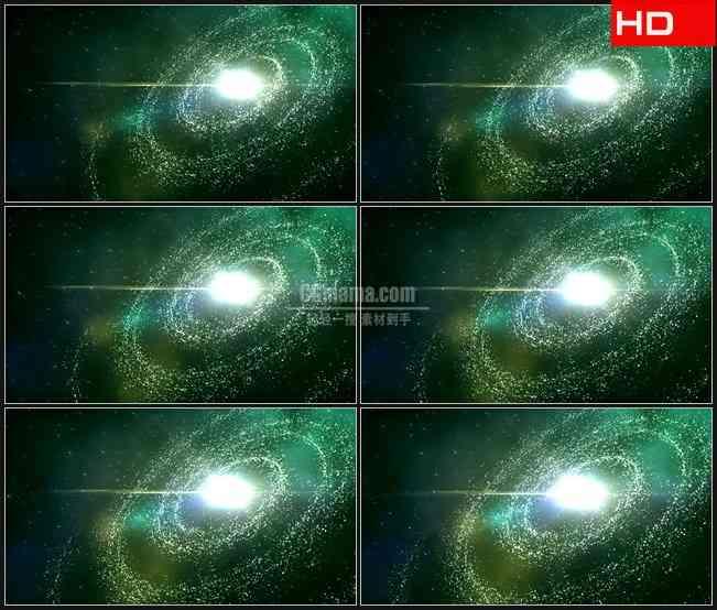 BG0074-太空绿色宇宙银河星系高清LED视频背景素材