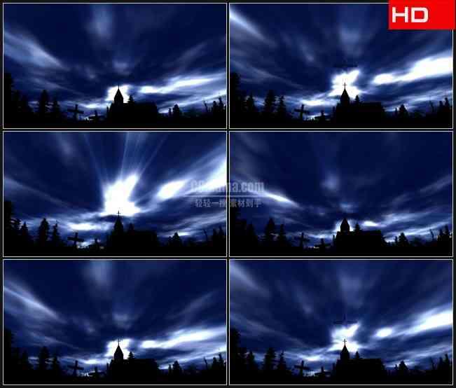 BG0075-光照亮天空神耶稣十字架教堂树林剪影高清LED视频背景素材