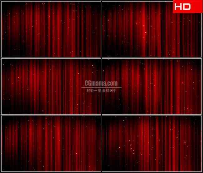 bg0079-红色幕布星光粒子高清led视频背景素材
