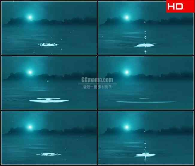BG0082-雾化水滴掉落蓝色夜晚高清LED视频背景素材