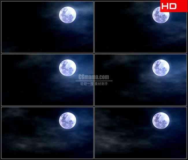 BG0083-月亮朦胧夜空高清LED视频背景素材