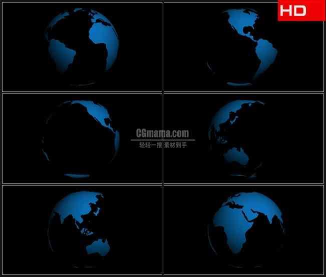 BG0088-阿尔法通道的透明球地球版图高清LED视频背景素材