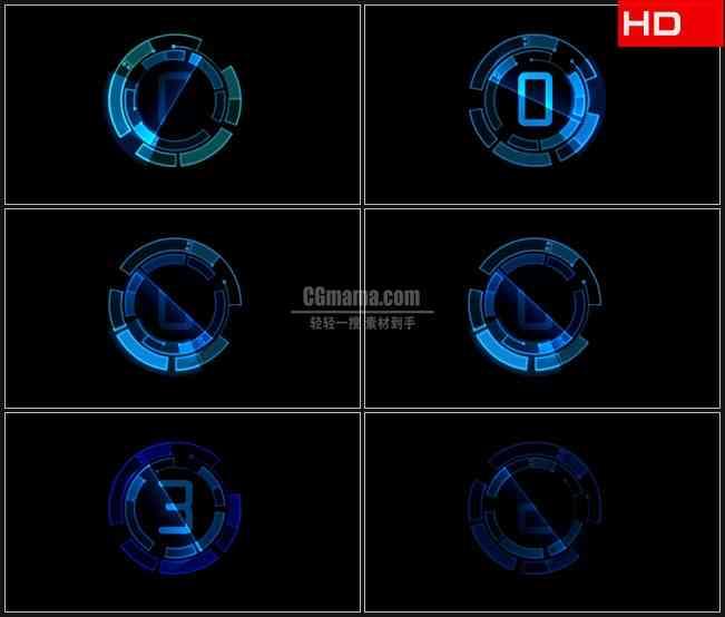 BG0091-科技蓝色快速计数数字变换高清LED视频背景素材