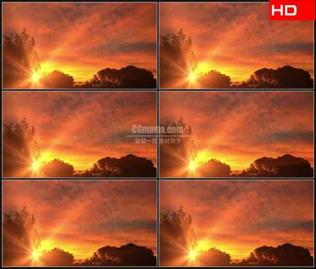 BG0104-橙色清晨云光芒高清LED视频背景素材
