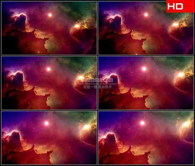 BG0115-梦幻紫色黄色星空宇宙高清LED视频背景素材