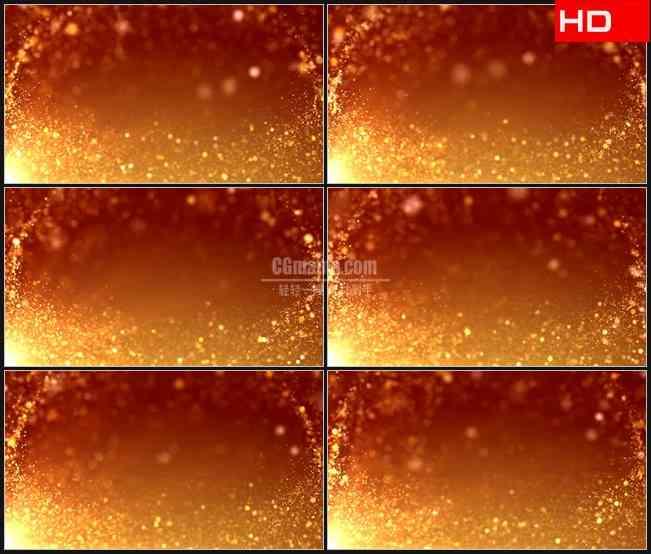 BG0121-橙色粒子流运动金色梦幻背景高清LED视频背景素材