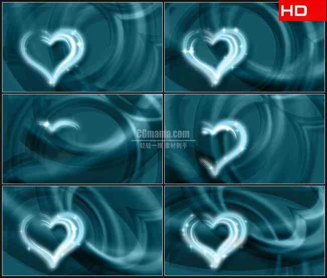 BG0128-蓝色水晶爱心光芒高清LED视频背景素材