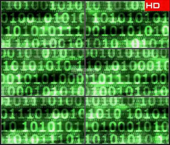 BG0131-计算机二进制代码层绿色数字高清LED视频背景素材