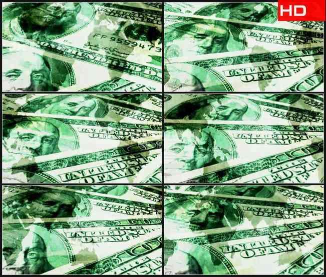 BG0134-美元货币转动世界地球金融经济高清LED视频背景素材