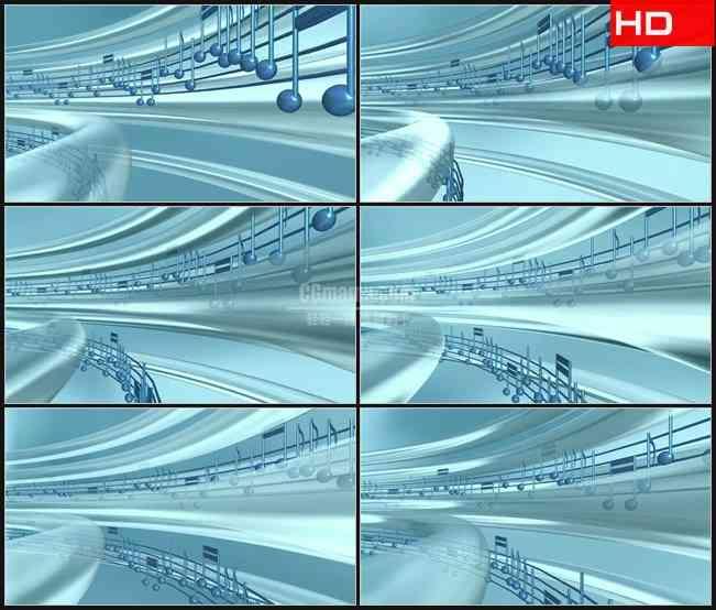 BG0135-蓝色水晶三维立体透明音符五线谱音乐高清LED视频背景素材