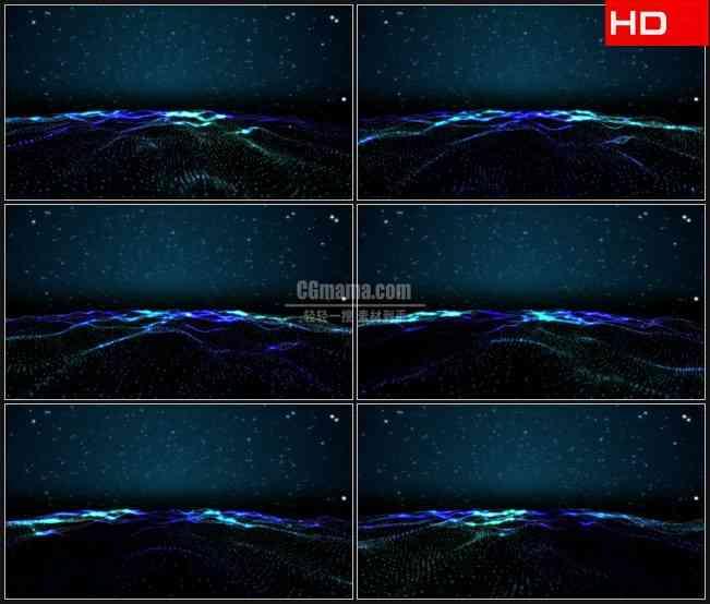 BG0136-星空粒子波浪海洋平面动态背景高清LED视频背景素材
