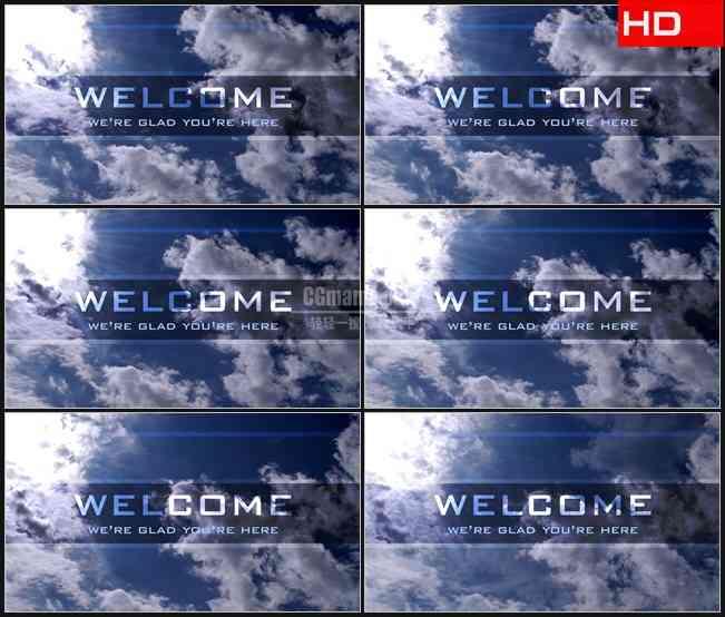 BG0137-云彩天空欢迎文本高清LED视频背景素材