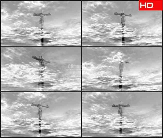 BG0146-空中漫步通过耶稣的十字架黑白高清LED视频背景素材