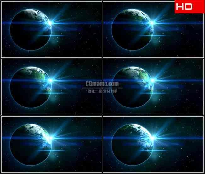BG0165-恒星行星地球太空自转转动蓝色光芒高清LED视频背景素材