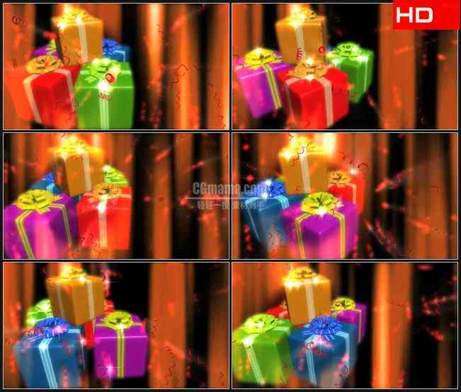 BG0183-节日生日圣诞礼物旋转高清LED视频背景素材