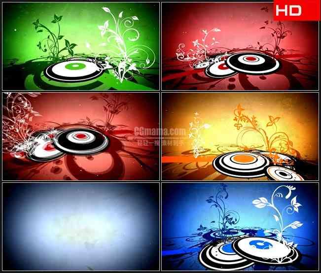 BG0184-红色绿色橙色蓝色卷草纹圆环生长动画高清LED视频背景素材