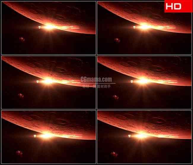 BG0185-行星月球表面红色光芒照耀高清LED视频背景素材
