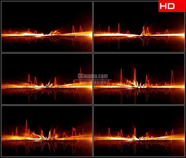 BG0189-金色跳动光波音频高清LED视频背景素材