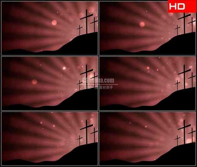 BG0190-三个十字架目的剪影光芒高清LED视频背景素材