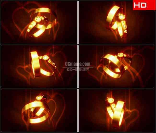 BG0196-三维立体金色对戒旋转爱心浪漫爱情婚礼高清LED视频背景素材