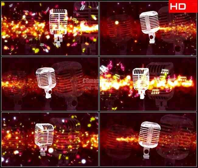 BG0197-麦克风旋转音符粒子飞舞音乐高清LED视频背景素材