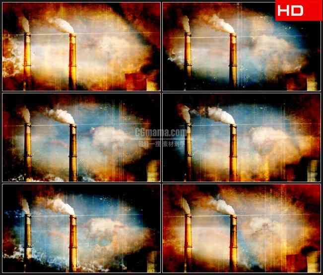 BG0203-老镜头电厂烟筒烟雾高清LED视频背景素材