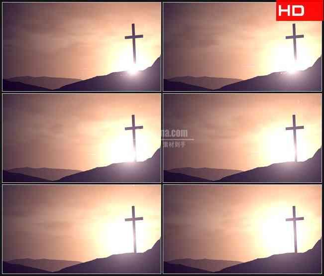 BG0209-橙光文眉十字架高清LED视频背景素材