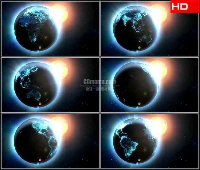 BG0219-太阳旋转地球外太空高清LED视频背景素材