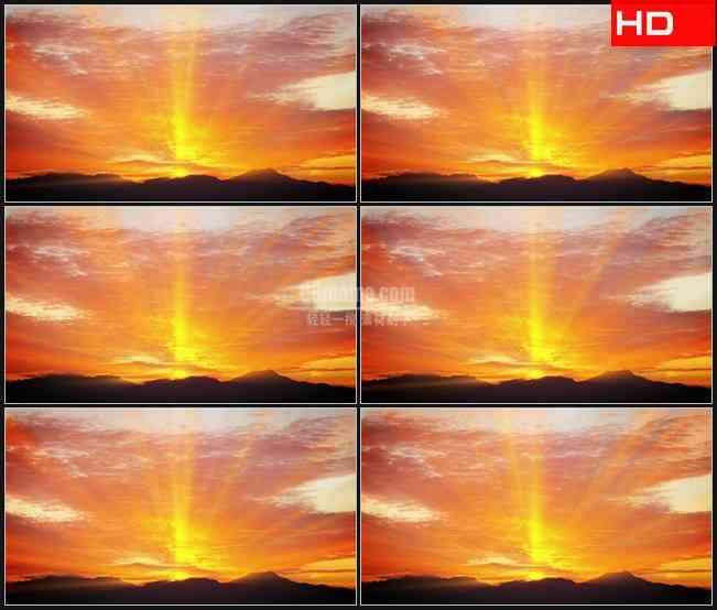 BG0230-日落山峰光芒万丈高清LED视频背景素材
